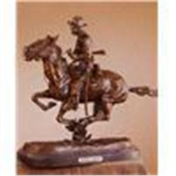 "Frederick Remington ""Trooper of the Plains"" Bronze Sculpture 15""x12"""