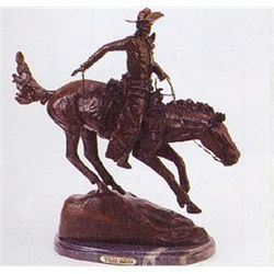 "Frederick Remington ""Arizona Cowboy"" Pure Bronze Sculpture Handmade in the USA 13""x10""x5"""