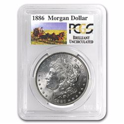 1886 RARE Stage Coach Series Silver Dollar BU PCGS Graded in slab