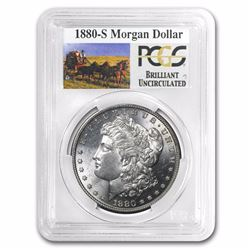 1880-S RARE Stage Coach Series Silver Dollar BU PCGS Graded in slab