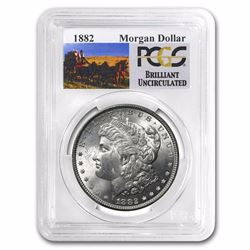 1882 RARE Stage Coach Series Silver Dollar BU PCGS Graded in slab