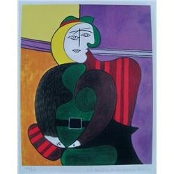 "Pablo Picasso WOMAN IN RED ARMCHAIR Estate Signed Limited Edition Giclee 9""x12"" W/COA"
