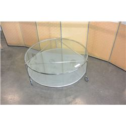 2 tier rolling glass coffee table