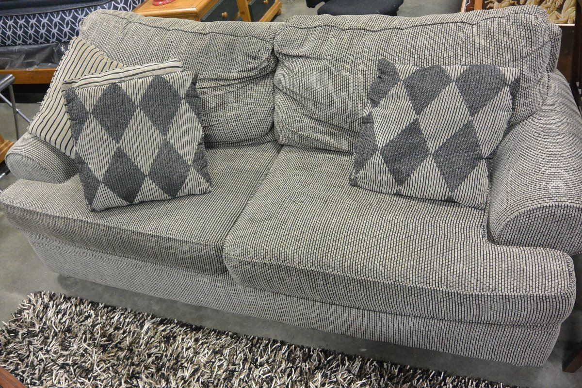 pillowback sofa and matching loveseat and throw pillows big valley auction. Black Bedroom Furniture Sets. Home Design Ideas