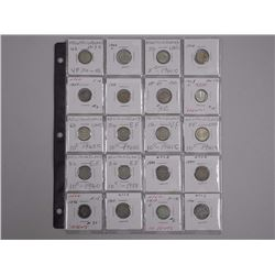 20x Canada Newfoundland Silver 5c, 10c Sheet. Mixed Years and Dealer Grading.