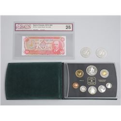RCMP Collection: 1998 Proof Set, BCS BOC 1975 $50 VF-25, (2) 1873-1973 Canada Silver Dollars.