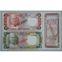 Lot of 3 Bank of Sierra Leone Specimen Notes. 1 Leone, 2 Leones, Fifty Cents. Matched Serial Numbers