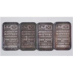 """4x Johnson Matthey 1/2 oz. Fine Silver Bars. """"Maybelline Welcomes Miss Universe 21-9-82""""."""