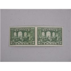 """Canada Horizontal Pair of """"The Fathers of Confederation"""" 2c Green Stamp. CAT PRICE: $240, CAT NO. 14"""