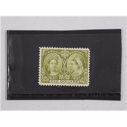 Canada 1897 Jubilee $5 Olive Green Stamp. CAT PRICE: $2,000. CAT NO. 65. Mint, H, VF.