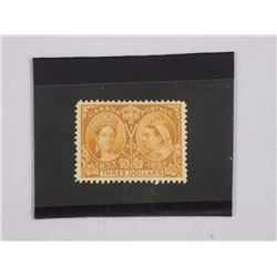 Canada 1897 Jubilee $3 Yel Bister Stamp. CAT PRICE: $2,000. CAT NO. 63. Mint, LH VF.