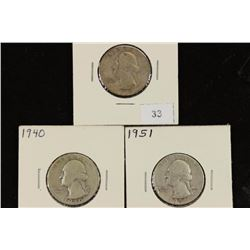1935-S,40 & 51 WASHINGTON SILVER QUARTERS