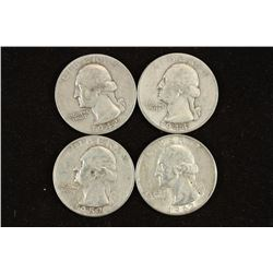 1942-D,44-D,52 & 62-D WASHINGTON SILVER QUARTERS