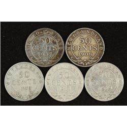 1907,08,09,11 & 1919 NEWFOUNDLAND SILVER 50 CENTS