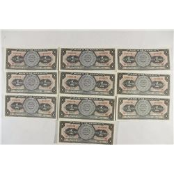 10-1967 MEXICO CRISP UNC PESO BILLS