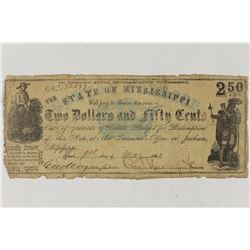 1862 STATE OF MISSISSIPPI $2 1/2 OBSOLETE BANK