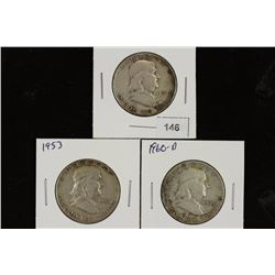 1951,53 & 60-D FRANKLIN HALF DOLLARS
