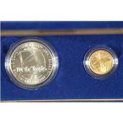 GOLD & SILVER 1987 US CONSTITUTION 2 COIN UNC SET