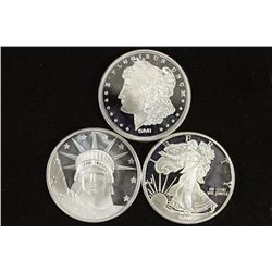 3-1 TROY OZ .999 FINE SILVER ROUNDS PROOF