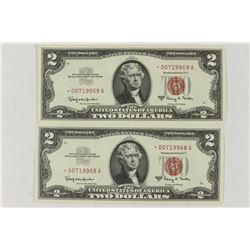 2-CONSECUTIVE SERIAL NUMBER STAR NOTES 1963-A $2