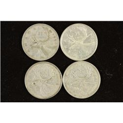 4 ASSORTED CANADA SILVER 25 CENTS