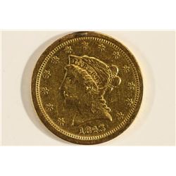 1843-O GOLD $2 1/2 QUARTER EAGLE EX JEWELRY