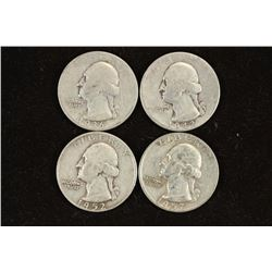 1936,42,52-D & 57-D WASHINGTON SILVER QUARTERS