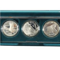 1994 US VETERANS 3 SILVER DOLLAR PROOF SET