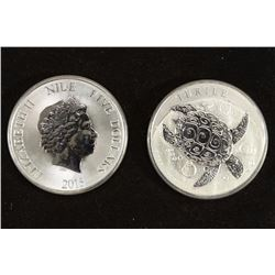 2-2015 NIUE 2 OZ. .999 FINE SILVER $5 TURTLES
