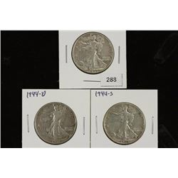 1944-P/D/S WALKING LIBERTY HALF DOLLARS