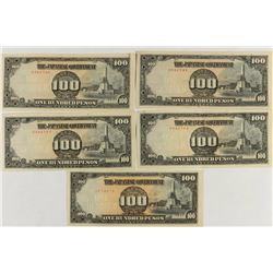 5-WWII JAPANESE GOVERNMENT 100 PESO NOTES