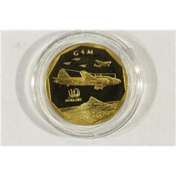 1991 MARSHALL ISLANDS BRASS $10 PROOF