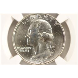1964-D WASHINGTON SILVER QUARTER NGC MS65