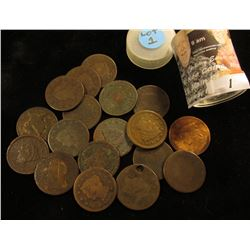(18) U.S. Large Cents, Draped Bust, Coronet, Type only. Holed, culls,or very poor. Stored in a plast