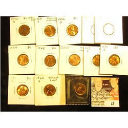 BU Lincoln Cents: 1942S, 44P, 45P, 47D, 51D, S, 52D, 54 S with repunched Mint mark, 56D, 58D, 2000 w
