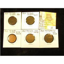 (5) Low Grade U.S. Two Cent Pieces. (3) 1864 Large Motto & (2) 1865.