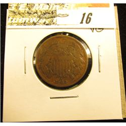 1864 Large Motto U.S. Two Cent Piece. VG.