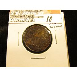 1871 U.S. Two Cent Piece, Brown AU.