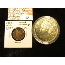 1883 With Cents U.S. Liberty Nickel, near Fine but a metal detector find; & a large Copper-nickel co
