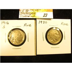 1916 S Buffalo Nickel & 1920 P Buffalo Nickel, both in Fine.