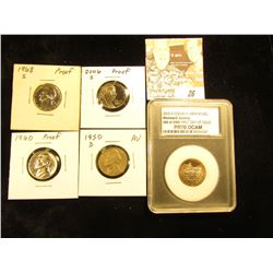 Quintuplet of Jefferson Nickels: 1950 D AU; 60 P & 68 S Proofs; 2005 S Ocean in View, Westward Journ