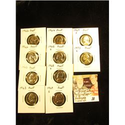 (10) Assorted Proof Jefferson Nickels: (2) 1962P, (2) 63P, 64P, (2) 68S, (2) 69S, & 73S.