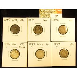 1847 P AG, 1854 Arrows at Date Fair, 1876 P AG, 1876 CC VF Damaged, 1888 S AG, & 1889 S AG U.S. Seat