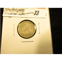 1854 O U.S. Seated Liberty Dime, VF-EF.