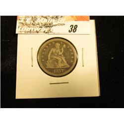 1857 P U.S. Seated Liberty Quarter, Fine.