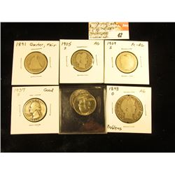 Quarters: 1891 P Fair, 1905 S AG, 09 S AG-Fair, 37 S Good, 68 PD BU & an 1898 O Barber Half-Dollar,
