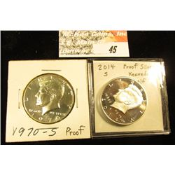 1970 S & 2014 S Silver Proof Kennedy Half-Dollars.
