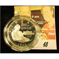 1993 S James Madison, Bill of Rights Silver Commemorative Proof Half-Dollar. Encapsulated, but no bo