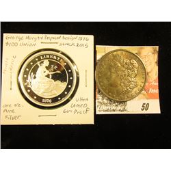 1876 Proposed design by George Morgan $100 Union One Ounce .999 Fine Silver Ultra Cameo Proof struck