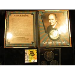 1971 S Proof Silver Eisenhower Dollar in Book & a 1976 S Proof Clad Bicentennial Three-Piece Set in